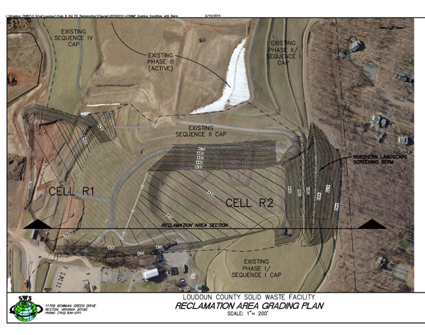 Berm grading plan elevations overlayed on aerial image