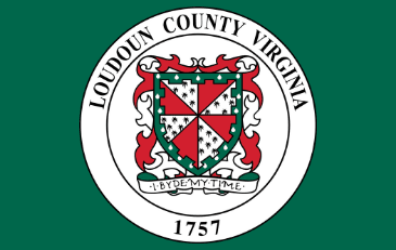 Red and green Loudoun County seal on a green background.