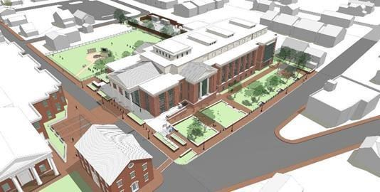 Drawing of planned new Courts Complex in downtown Leesburg looking northeast
