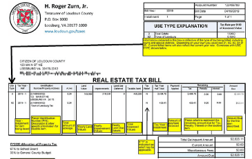 Image of a sample Loudoun County real estate tax bill