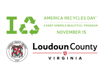 Images of America Recycles Day logo and Loudoun County wordmark