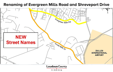 News Flash-Renaming of Evergreen Mills Road and Shreveport Drive