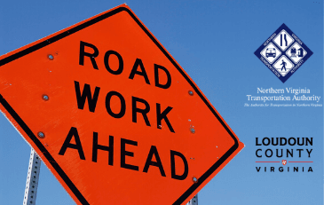 Image of Road Work Ahead Sign with NVTA Logo and Loudoun County Wordmark