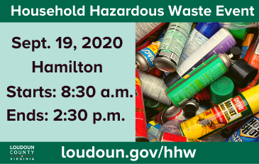 Image of graphic for household hazardous waste event September 19, 2020