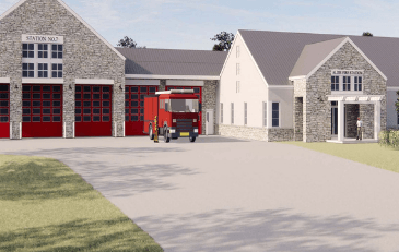 Image of rendering of preliminary design of the Aldie Fire and Rescue Station