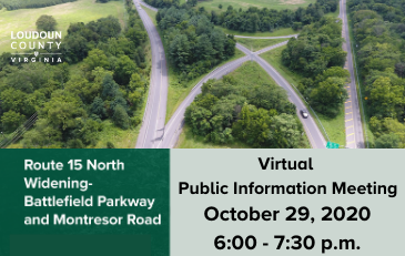 Image of graphic with information about the Route 15 widening project meeting October 29