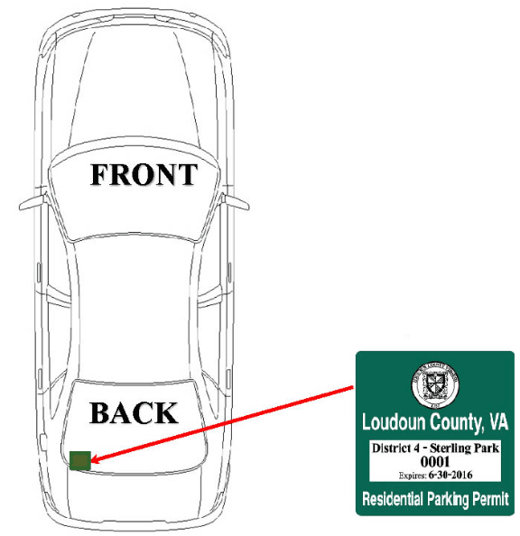Parking Pass Placement at left of back window of the vehicle.